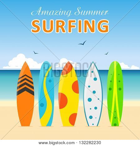 Set of surfboards with different designs on the beach in a flat style isolated on white background. Summer sport surfing board activity wave extreme collection and surfing wood board.