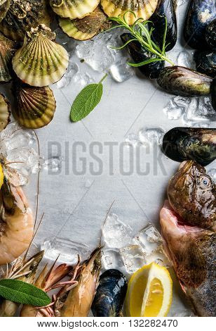 Fresh seafood with herbs and lemon on ice. Prawns, fish, mussels and scallops over steel metal background. Food frame. Vertical