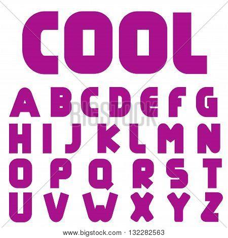 Lilac letters. Cool alphabet. Creative English alphabet