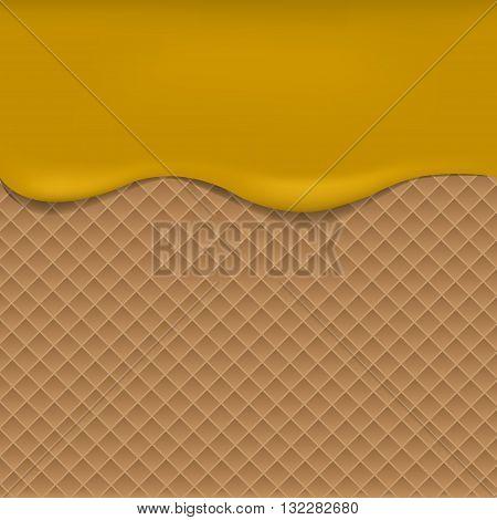 Wafer background with apple jam. Vector illustration