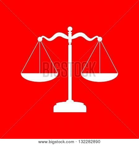 Scales balance sign. White icon on red background.