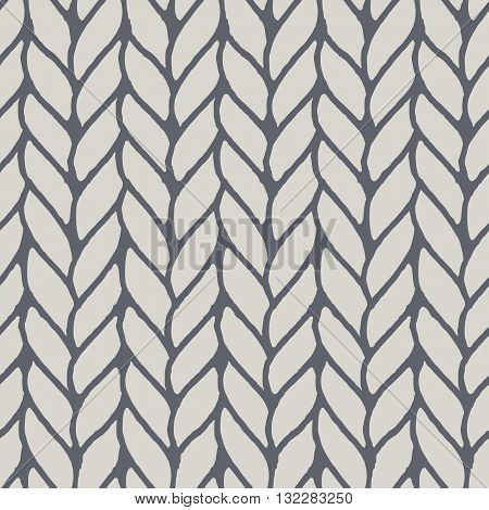 Decorative knitting braids seamless pattern. Endless hand drawn grey stylized sweater fabric. Trendy stylish texture with rough edges. Perfect for fabric design, wallpaper, wrapping, backdrops