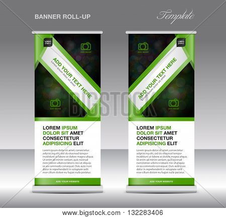 Green Roll up banner stand template stand design banner template Green banner flyer template advertisement Poster layout template