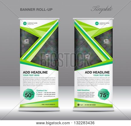 green roll banner stand template vector & photo   bigstock