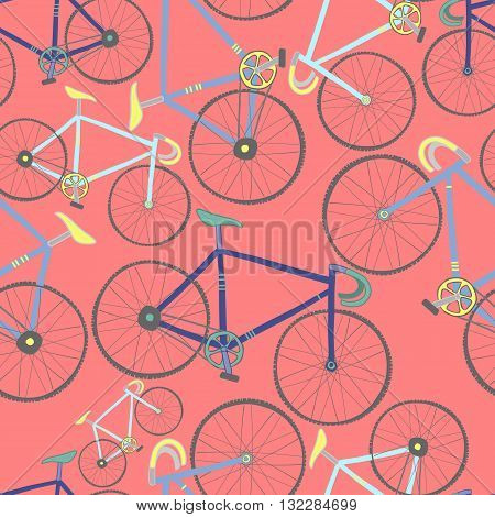 Decorative seamless pattern with racing bikes. Endless trendy ornament with hand drawn bicycles. Stylish backdrop with colorful cycles on red background. For fabric design, wallpaper, wrapping