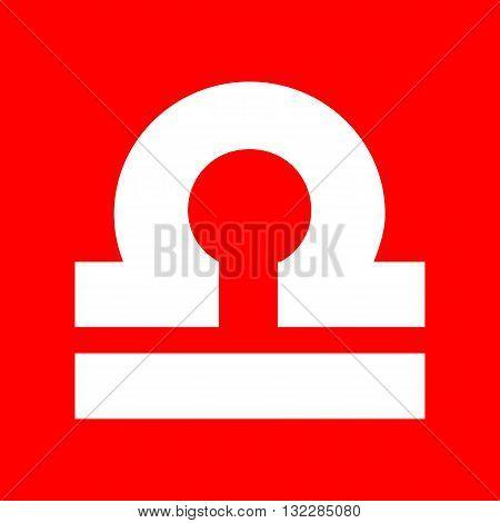 Libra sign illustration. White icon on red background.