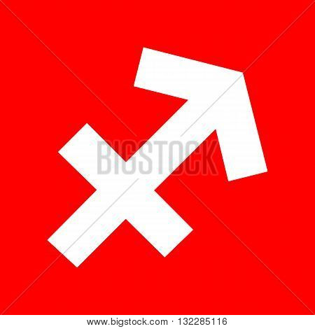 Sagittarius sign illustration. White icon on red background.