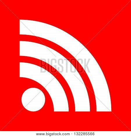 RSS sign illustration. White icon on red background.