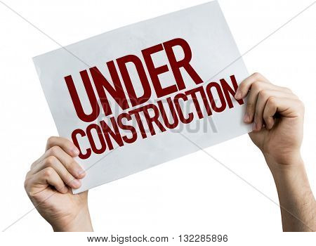 Under Construction placard isolated on white background