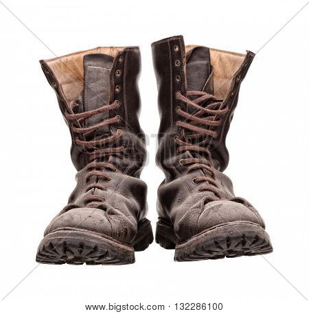 old combat boots isolated on white