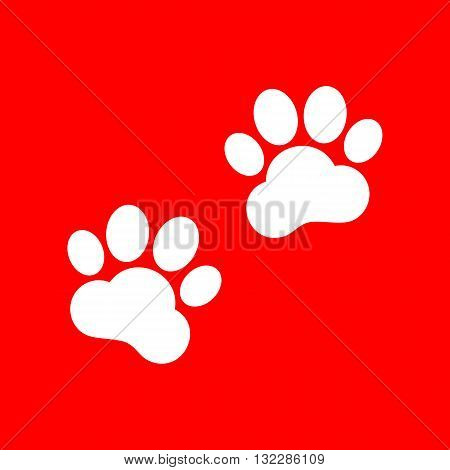 Animal Tracks sign. White icon on red background.