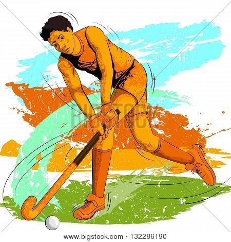 Concept of sportsman playing Field Hockey. Vector illustration