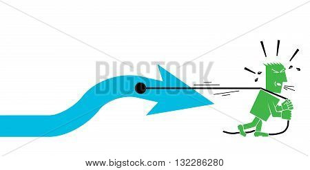 man pulls an arrow character person people vector