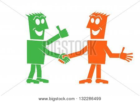 handshake of two people character person people vector