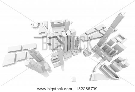 Tall Skyscrapers Isolated On White, 3D Render