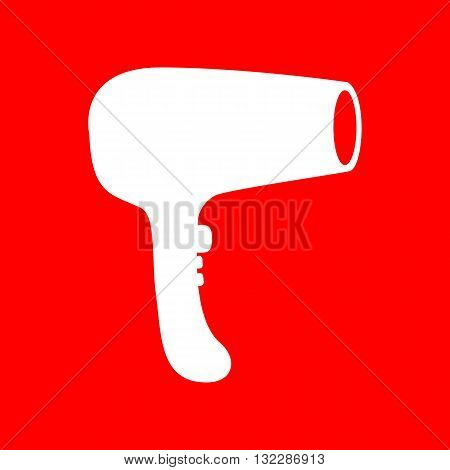 Hair Dryer sign. White icon on red background.