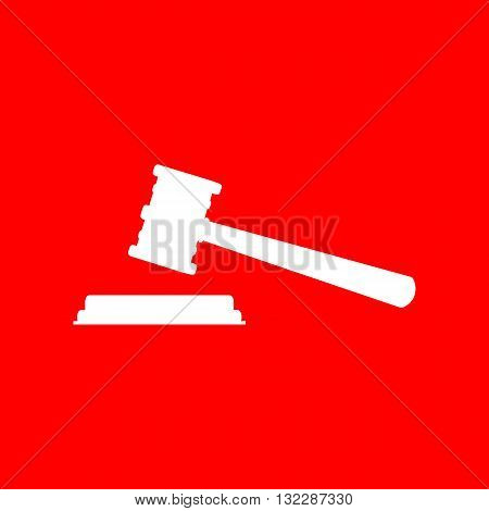 Justice hammer sign. White icon on red background.