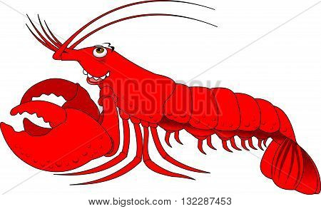 cheerful red lobster on a white background vector
