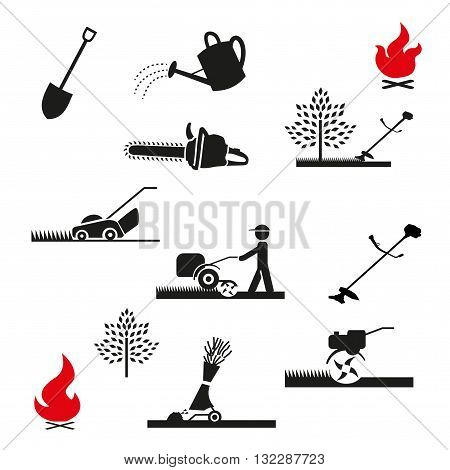 Set of icons of garden tools and equipment. Gardening icon. Isolated on white background.