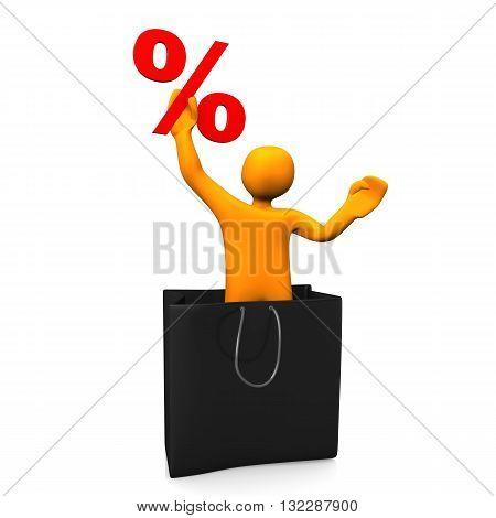 Manikin Shopping Bag Percent