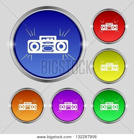 Radio Cassette Player Icon Sign. Round Symbol On Bright Colourful Buttons. Vector