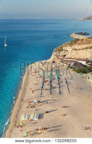 View of a beautiful beach in Tropea in southern Italy