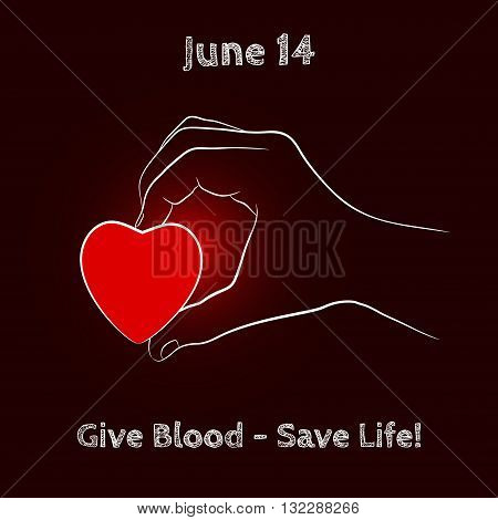 Vector Shine Red Heart in Hand on black background. Element for the World Blood Donor Day and other medical projects and design. Red Heart Icon. Medical Blood Donation Design Elements.
