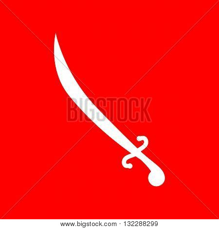 Sword sign illustration. White icon on red background.