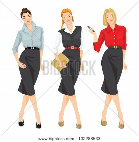 Vector illustration of  girl in formal clothes