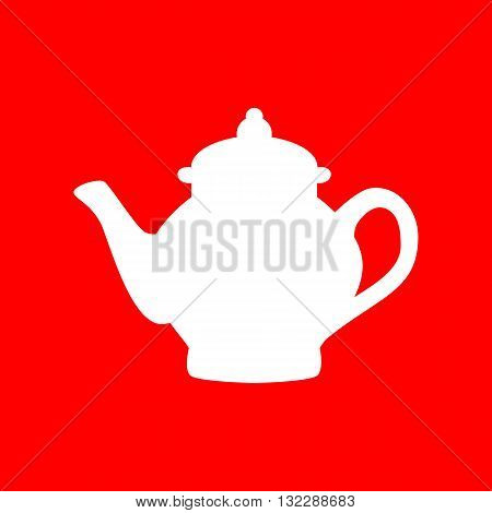Tea maker sign. White icon on red background.