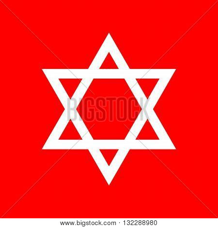 Shield Magen David Star. Symbol of Israel. White icon on red background.