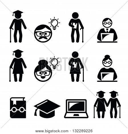 University of the Third Age, Senior education icons set