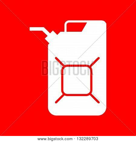 Jerrycan oil sign. Jerry can oil sign. White icon on red background.