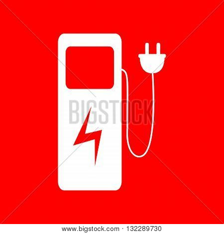Electric car charging station sign. White icon on red background.