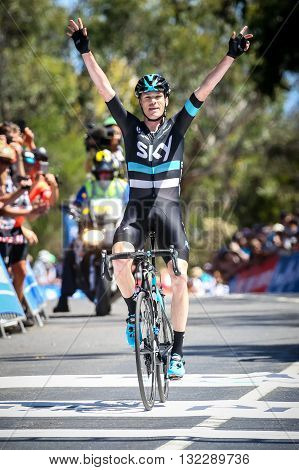 MELBOURNE, AUSTRALIA - FEBRUARY 7: Chris Froome of Team Sky wins Stage 4 and the yellow jersey in the Jayco Herald Sun Tour 2016
