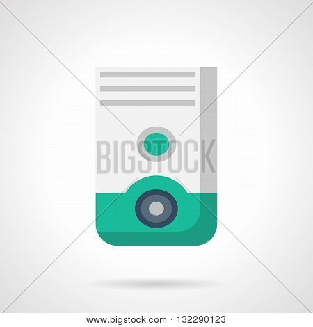 Household air dehumidifier. Appliances for room interior and climate control. Portable electric equipment for home and office. Flat color design vector icon.
