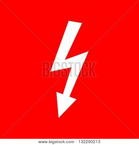 High voltage danger sign. White icon on red background.