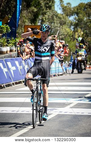 MELBOURNE, AUSTRALIA - FEBRUARY 7: Chris Froome of Team Sky salutes the crowd and wins Stage 4 and the yellow jersey in the Jayco Herald Sun Tour 2016