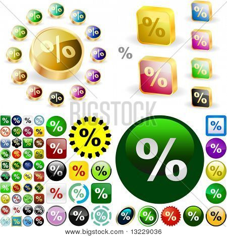 Percent button set. Vector great collection.