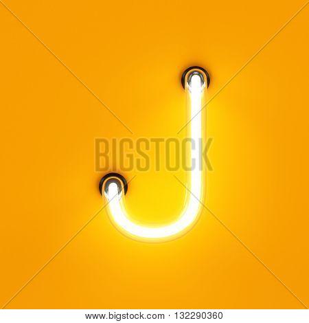 Neon Light Alphabet Character J Font