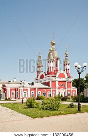 Beautiful Ivanovsky church with a bell tower in the Kazan friary