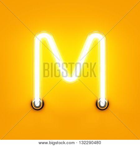 Neon Light Alphabet Character M Font