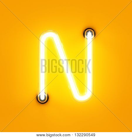 Neon Light Alphabet Character N Font