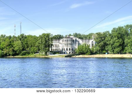 Beautiful modern house and the beach on the Dnieper River