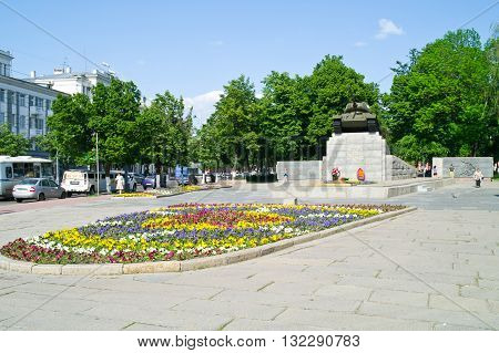 ORYOL RUSSIA - May 15.2012: Monument to the tankers World Square and the high-relief battle for the liberation of Oryol
