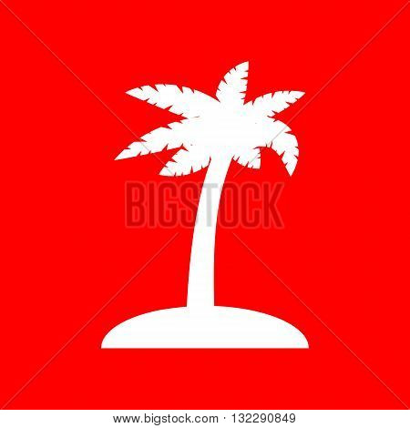 Coconut palm tree sign. White icon on red background.