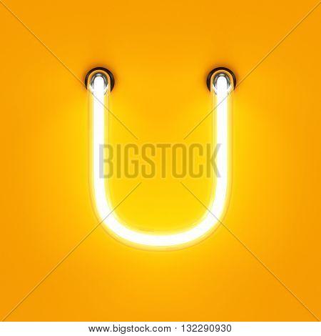 Neon Light Alphabet Character U Font