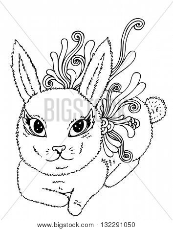 psychedelic linear illustration bunny