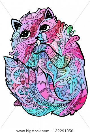 psychedelic linear illustration cat