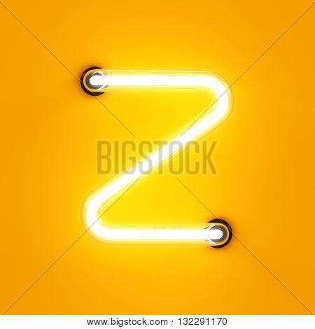 Neon Light Alphabet Character Z Font